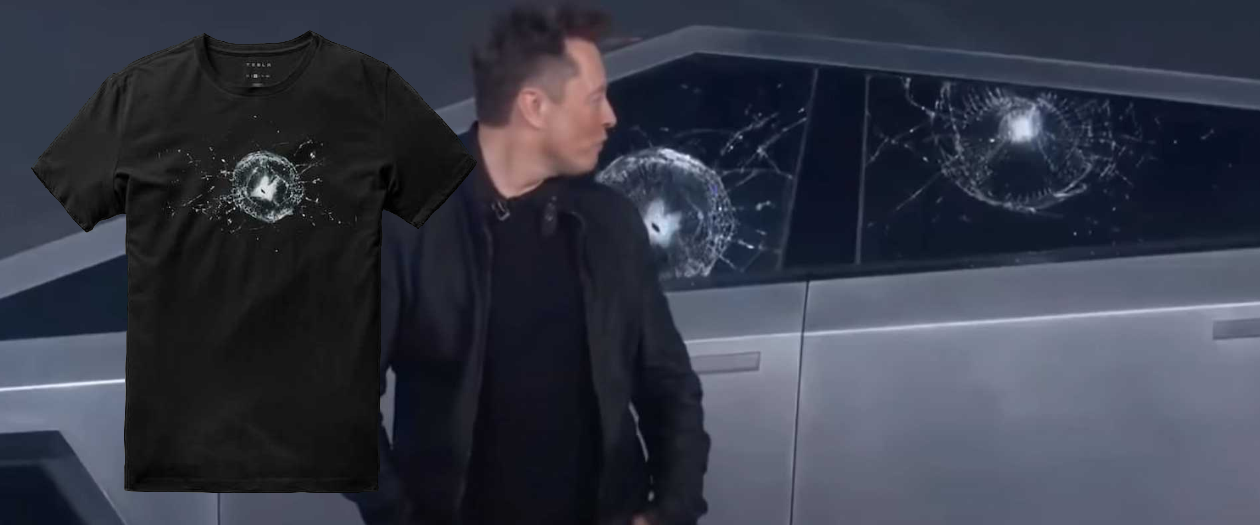 Tesla is Selling T-Shirts Commemorating the Cybertruck's Broken Windows
