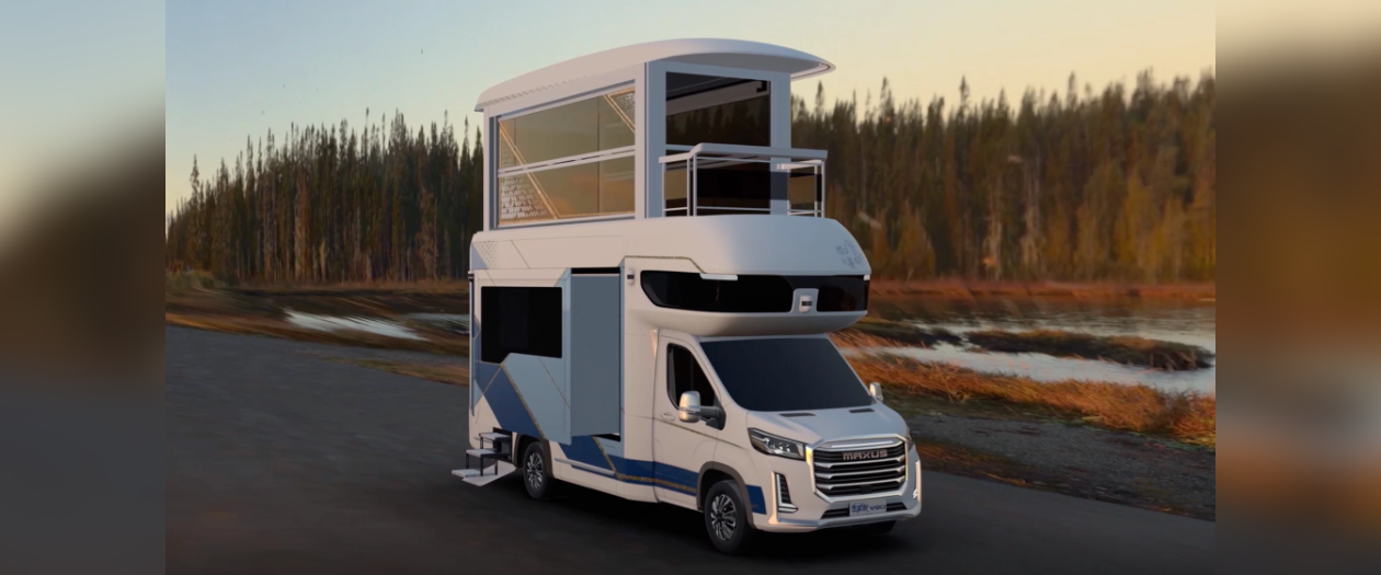 This Chinese RV Expands Into a Double Decker Bus