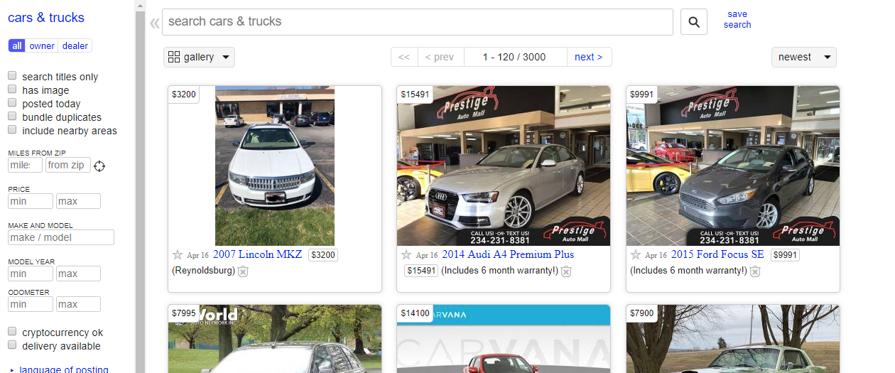 Craigslist Now Charges $5 For Private Car Listings