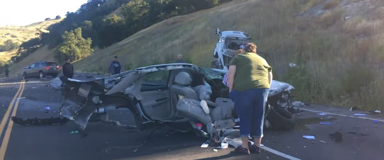 Car Split in Half by Head-On Highway Collision