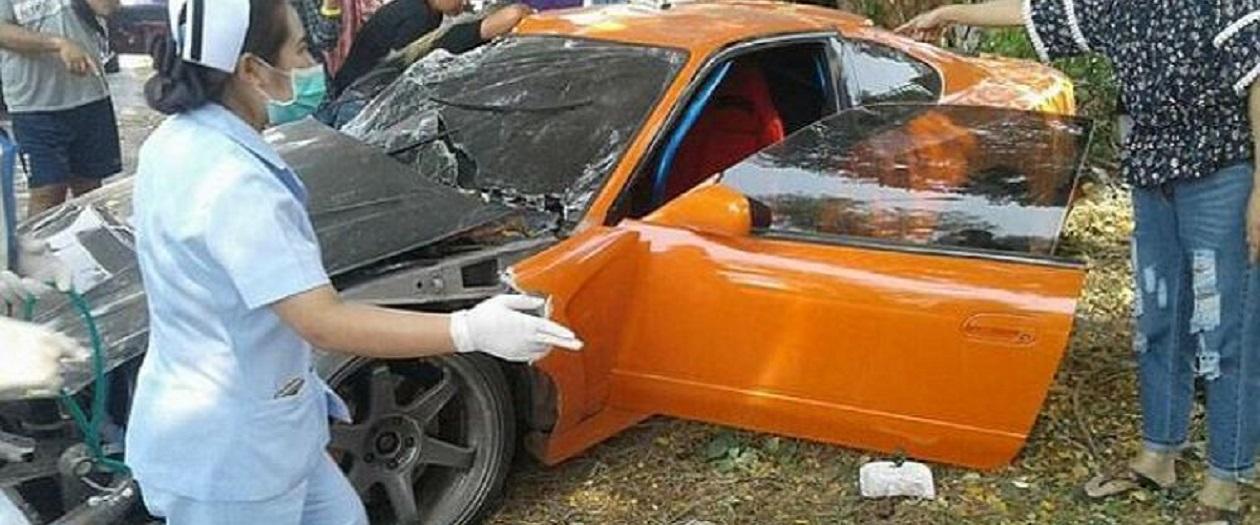 Buddhist Monk Crashes Modified Nissan Silvia S15