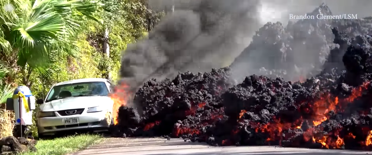 Ford Mustang is Consumed by Lava in Hawaii