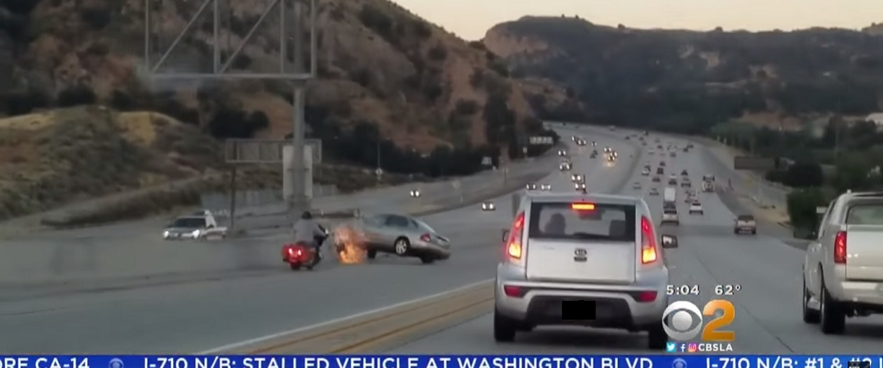 Confrontation Between Motorcyclist and Car Ends in Chain-Reaction Crash